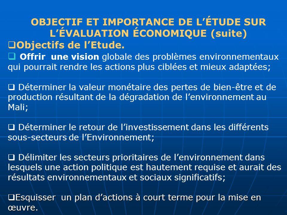 OBJECTIF ET IMPORTANCE DE LÉTUDE SUR LÉVALUATION ÉCONOMIQUE (suite) Objectifs de lEtude. Offrir une vision globale des problèmes environnementaux qui