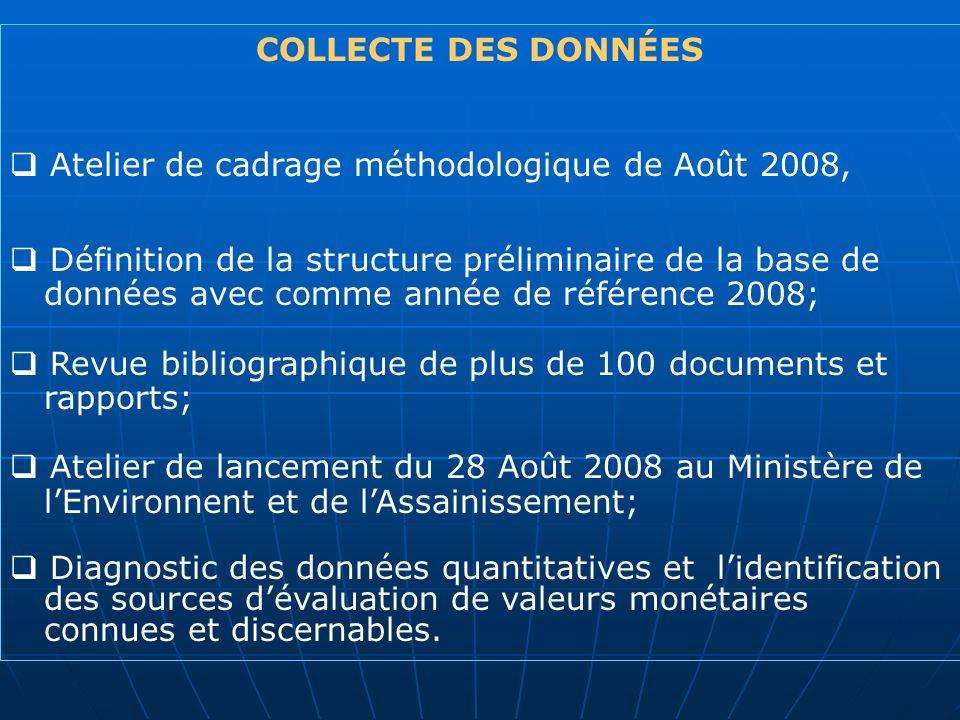 COLLECTE DES DONNÉES Atelier de cadrage méthodologique de Août 2008, Définition de la structure préliminaire de la base de données avec comme année de