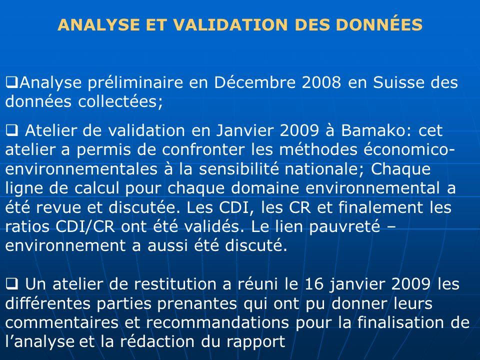 ANALYSE ET VALIDATION DES DONNÉES Analyse préliminaire en Décembre 2008 en Suisse des données collectées; Atelier de validation en Janvier 2009 à Bama