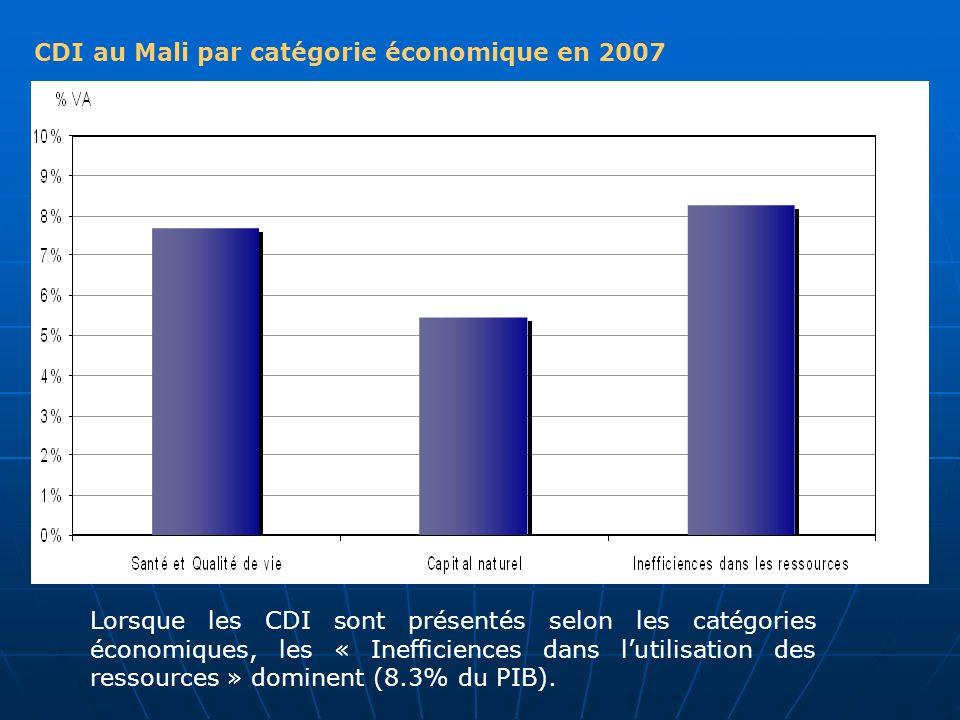 CDI au Mali par catégorie économique en 2007 Lorsque les CDI sont présentés selon les catégories économiques, les « Inefficiences dans lutilisation de