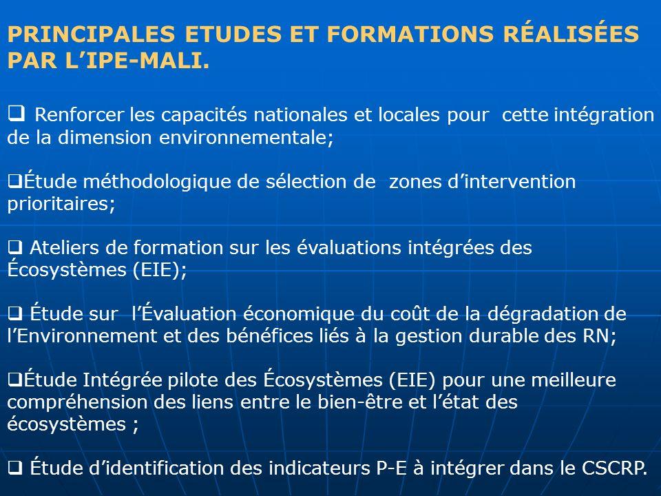 PRINCIPALES ETUDES ET FORMATIONS RÉALISÉES PAR LIPE-MALI. Renforcer les capacités nationales et locales pour cette intégration de la dimension environ