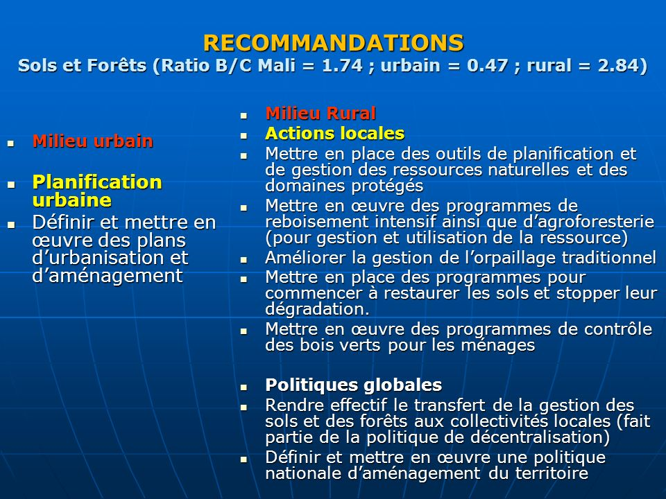 RECOMMANDATIONS Sols et Forêts (Ratio B/C Mali = 1.74 ; urbain = 0.47 ; rural = 2.84) Milieu urbain Milieu urbain Planification urbaine Planification