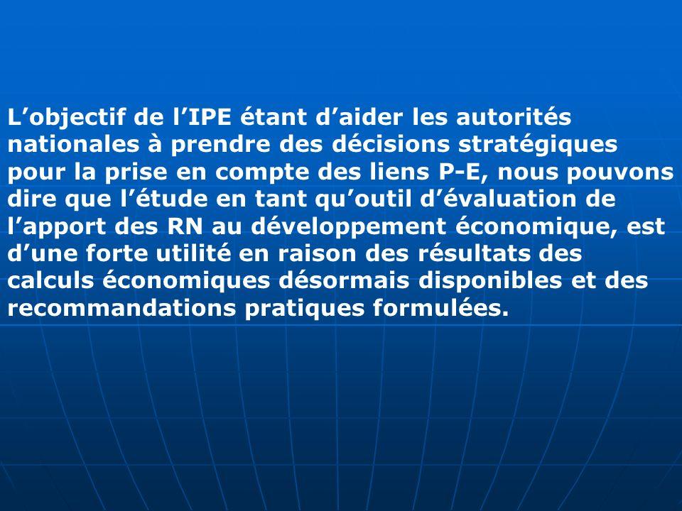 Lobjectif de lIPE étant daider les autorités nationales à prendre des décisions stratégiques pour la prise en compte des liens P-E, nous pouvons dire