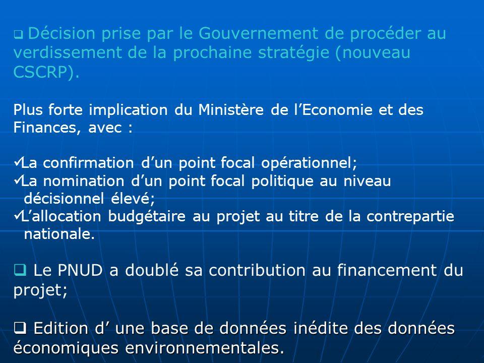 Décision prise par le Gouvernement de procéder au verdissement de la prochaine stratégie (nouveau CSCRP). Plus forte implication du Ministère de lEcon
