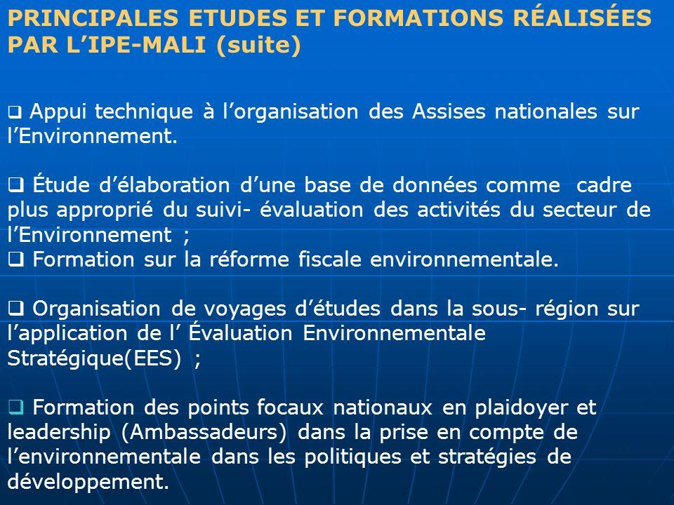 PRINCIPALES ETUDES ET FORMATIONS RÉALISÉES PAR LIPE-MALI (suite) Appui technique à lorganisation des Assises nationales sur lEnvironnement. Étude déla