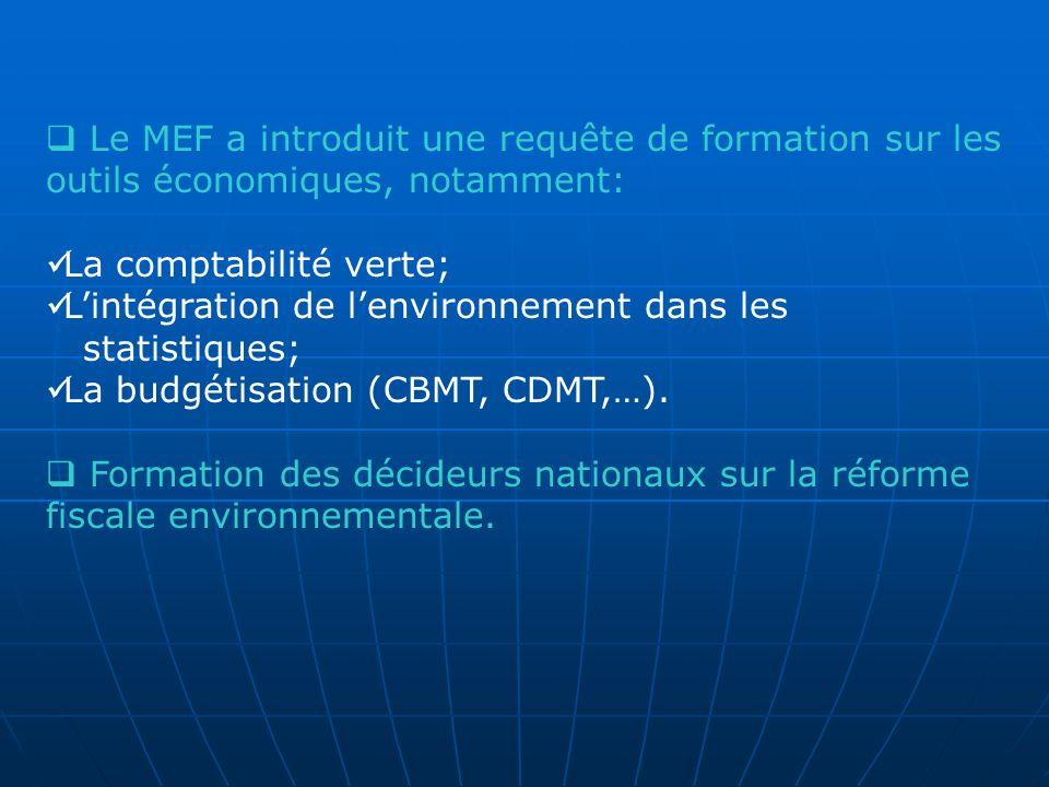 Le MEF a introduit une requête de formation sur les outils économiques, notamment: La comptabilité verte; Lintégration de lenvironnement dans les stat