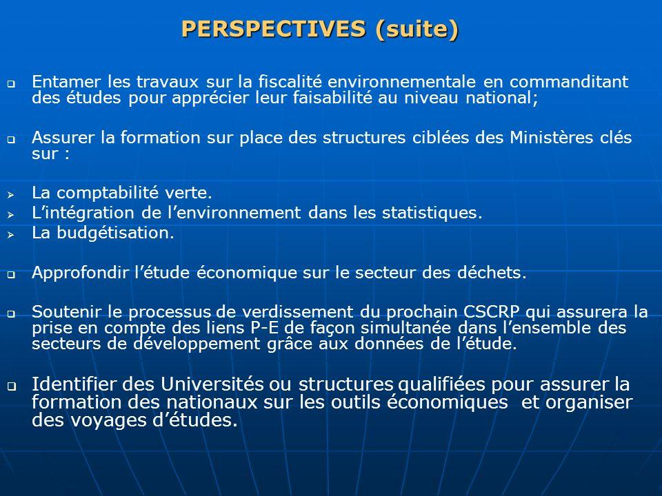PERSPECTIVES (suite) Entamer les travaux sur la fiscalité environnementale en commanditant des études pour apprécier leur faisabilité au niveau nation