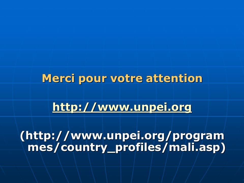 Merci pour votre attention http://www.unpei.org (http://www.unpei.org/program mes/country_profiles/mali.asp)