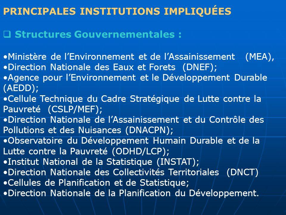 PRINCIPALES INSTITUTIONS IMPLIQUÉES Structures Gouvernementales : Ministère de lEnvironnement et de lAssainissement (MEA), Direction Nationale des Eau