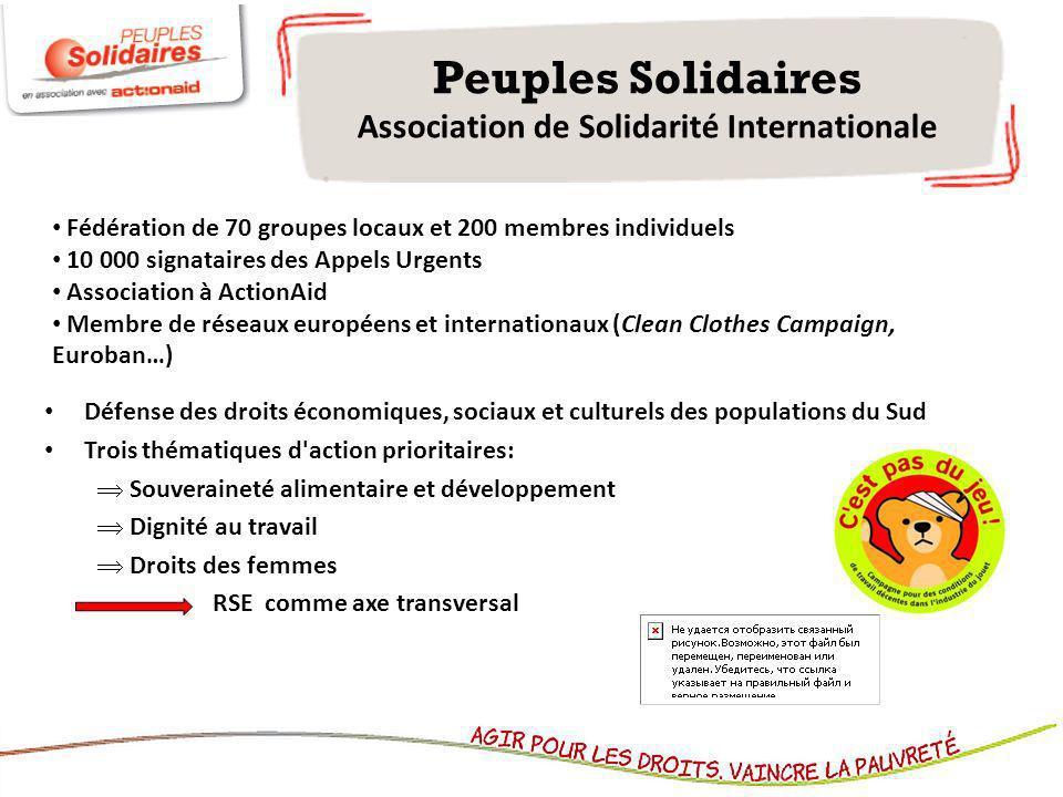 Peuples Solidaires Association de Solidarité Internationale Défense des droits économiques, sociaux et culturels des populations du Sud Trois thématiq
