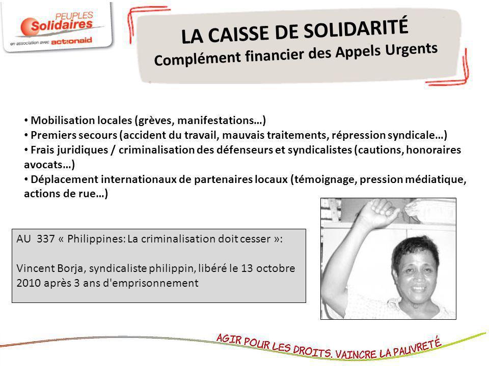 LA CAISSE DE SOLIDARITÉ Complément financier des Appels Urgents Mobilisation locales (grèves, manifestations…) Premiers secours (accident du travail,