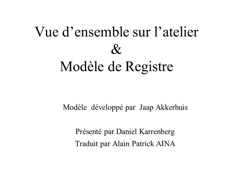 Vue densemble sur latelier & Modèle de Registre Modèle développé par Jaap Akkerhuis Présenté par Daniel Karrenberg Traduit par Alain Patrick AINA