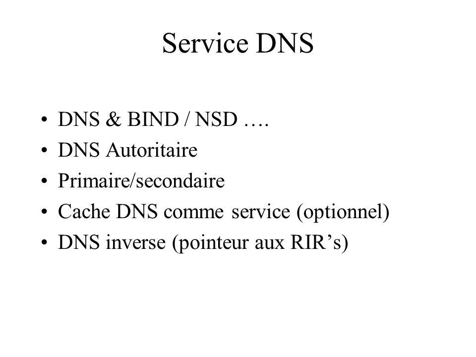 Service DNS DNS & BIND / NSD …. DNS Autoritaire Primaire/secondaire Cache DNS comme service (optionnel) DNS inverse (pointeur aux RIRs)