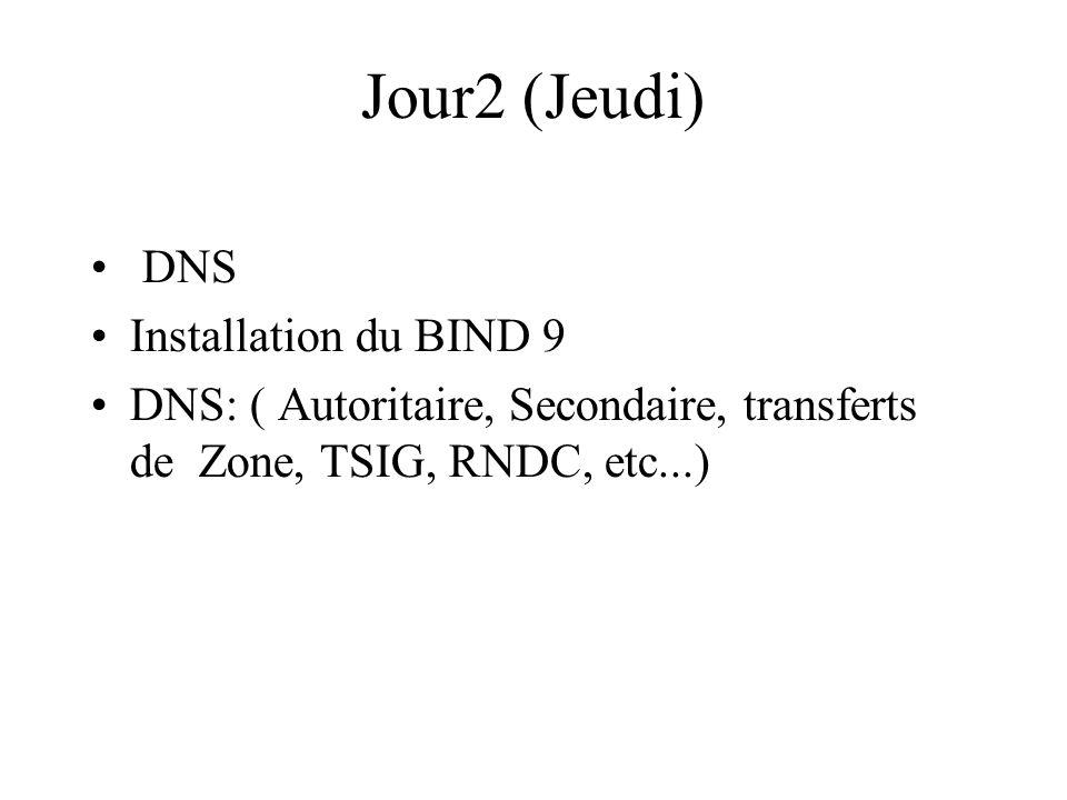 Jour2 (Jeudi) DNS Installation du BIND 9 DNS: ( Autoritaire, Secondaire, transferts de Zone, TSIG, RNDC, etc...)