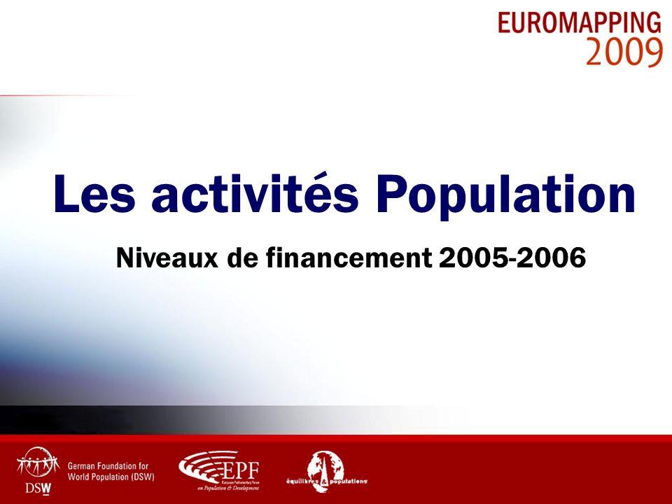 Les activités Population Niveaux de financement 2005-2006