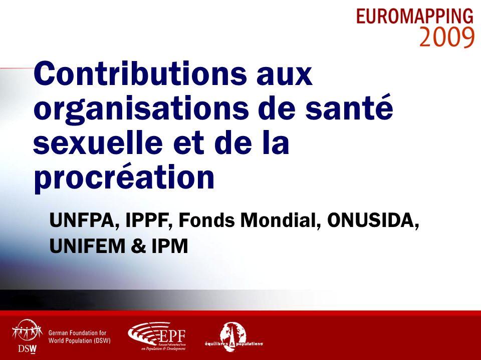 Contributions aux organisations de santé sexuelle et de la procréation UNFPA, IPPF, Fonds Mondial, ONUSIDA, UNIFEM & IPM