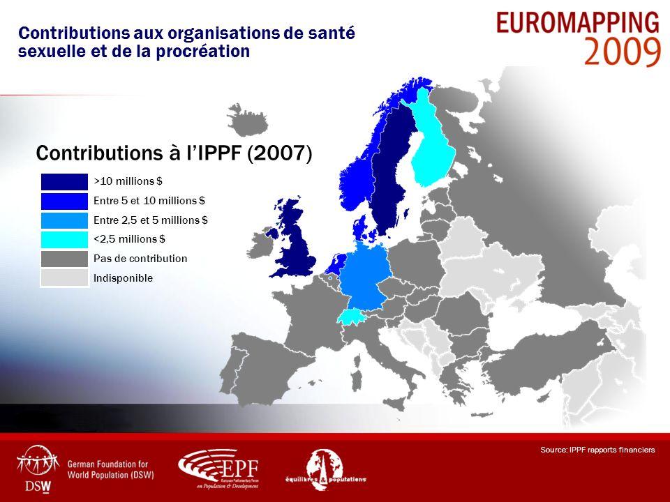 Source: IPPF rapports financiers >10 millions $ Entre 5 et 10 millions $ Entre 2,5 et 5 millions $ <2,5 millions $ Pas de contribution Indisponible Co