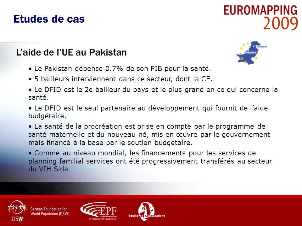 Le Pakistan dépense 0.7% de son PIB pour la santé. 5 bailleurs interviennent dans ce secteur, dont la CE. Le DFID est le 2e bailleur du pays et le plu