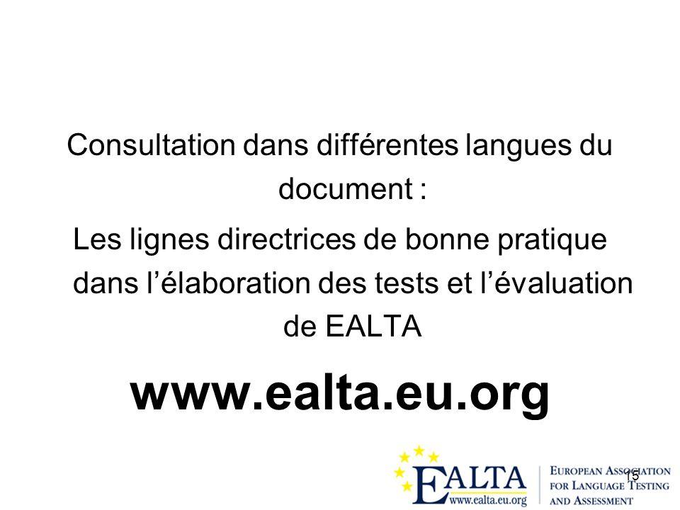 15 Consultation dans différentes langues du document : Les lignes directrices de bonne pratique dans lélaboration des tests et lévaluation de EALTA ww