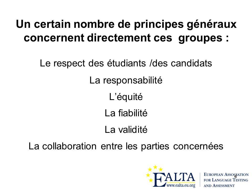 4 Un certain nombre de principes généraux concernent directement ces groupes : Le respect des étudiants /des candidats La responsabilité Léquité La fi