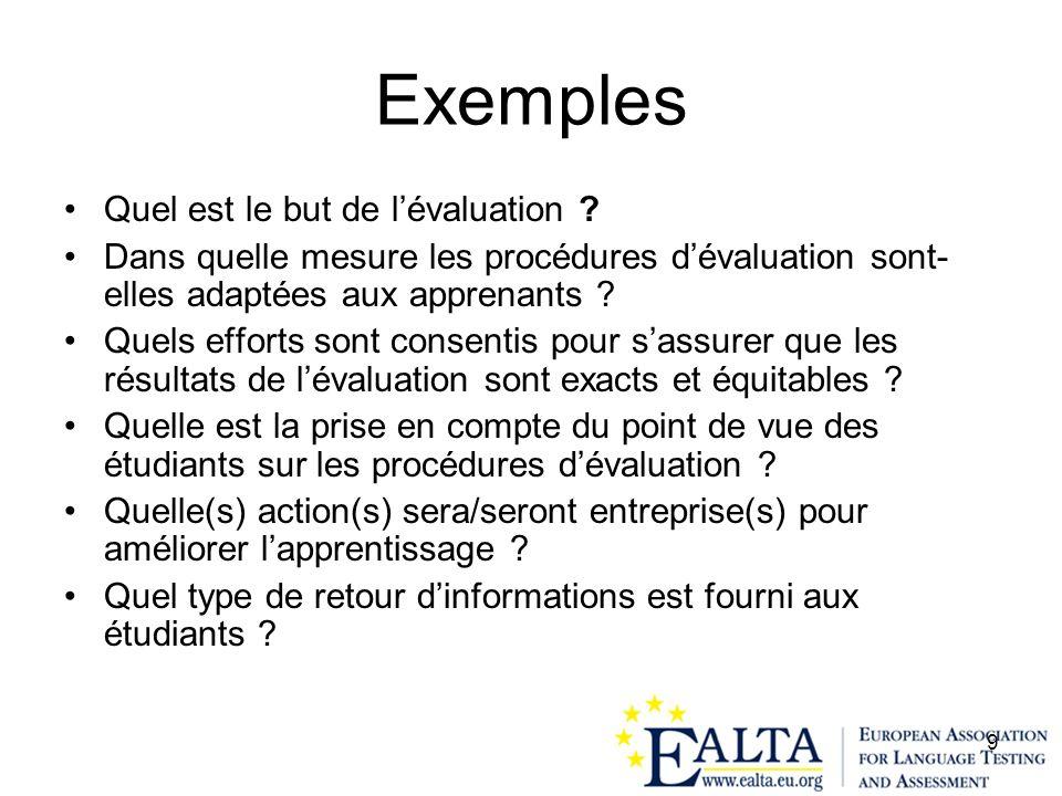 9 Exemples Quel est le but de lévaluation ? Dans quelle mesure les procédures dévaluation sont- elles adaptées aux apprenants ? Quels efforts sont con