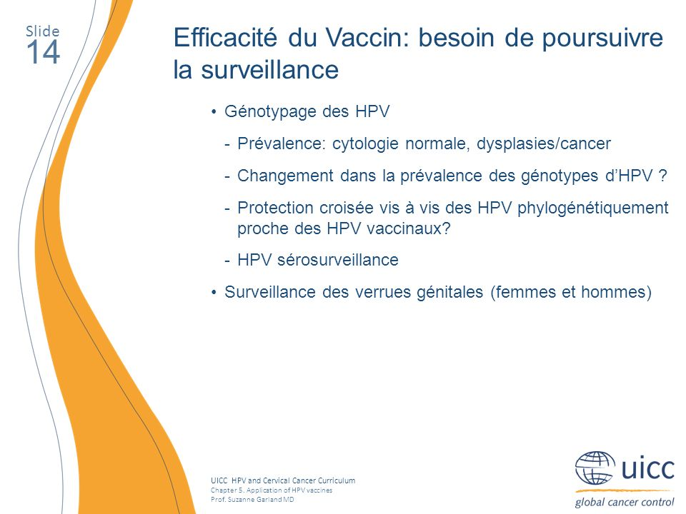 UICC HPV and Cervical Cancer Curriculum Chapter 5. Application of HPV vaccines Prof. Suzanne Garland MD Slide 14 Efficacité du Vaccin: besoin de pours