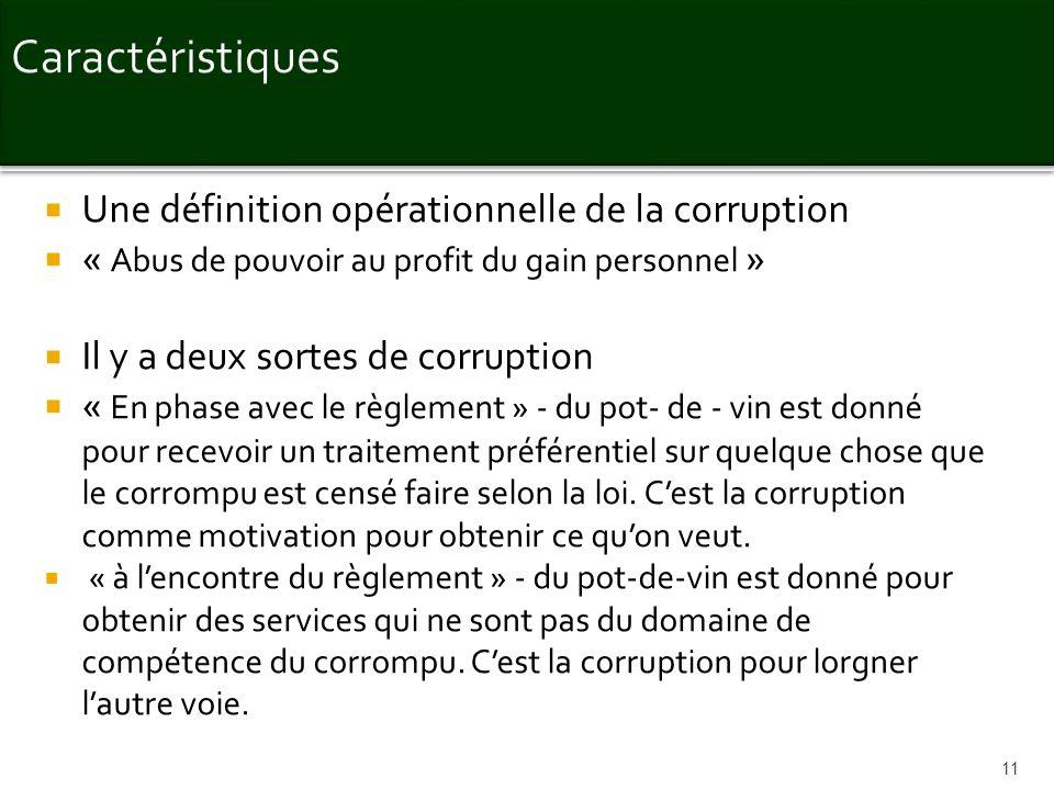 Une définition opérationnelle de la corruption « Abus de pouvoir au profit du gain personnel » Il y a deux sortes de corruption « En phase avec le règ