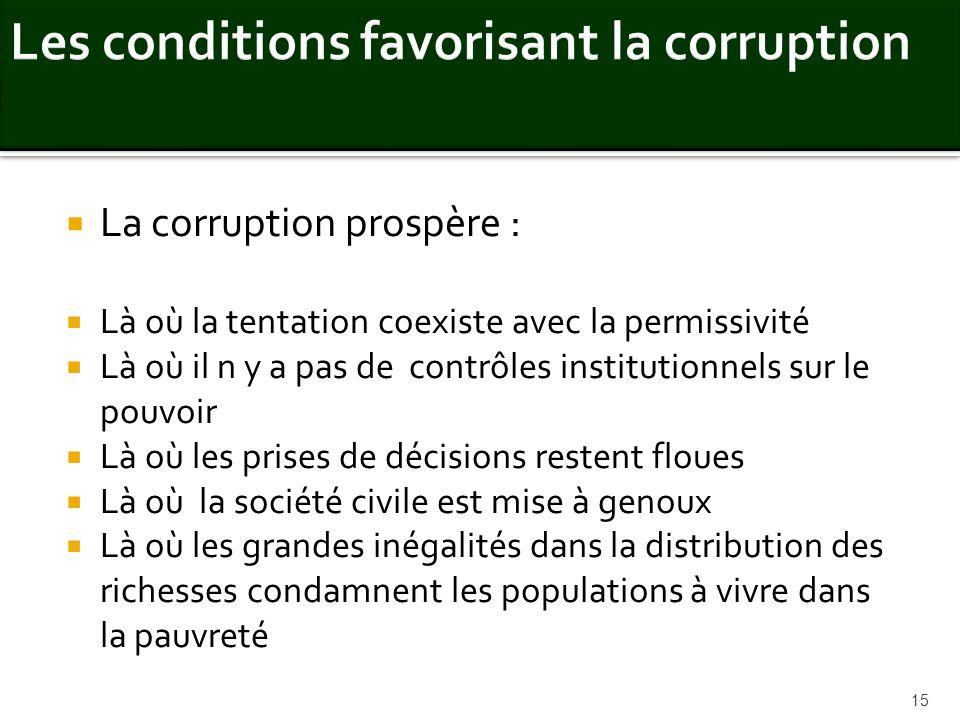 La corruption prospère : Là où la tentation coexiste avec la permissivité Là où il n y a pas de contrôles institutionnels sur le pouvoir Là où les pri