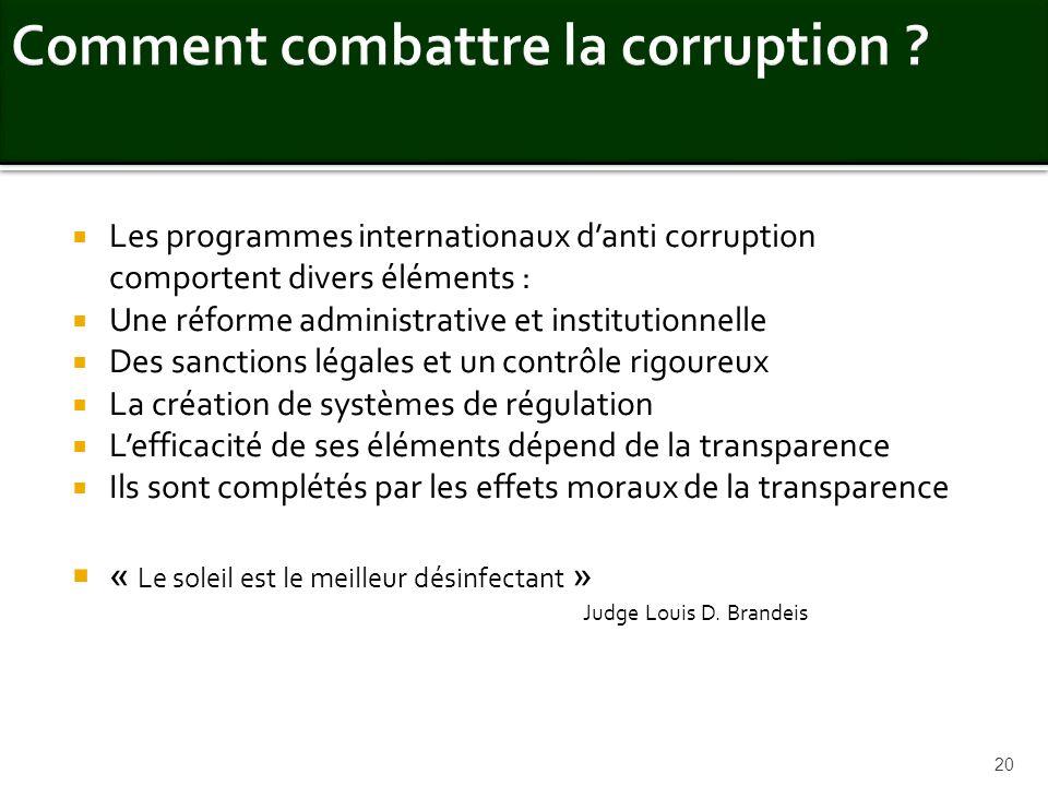 Les programmes internationaux danti corruption comportent divers éléments : Une réforme administrative et institutionnelle Des sanctions légales et un