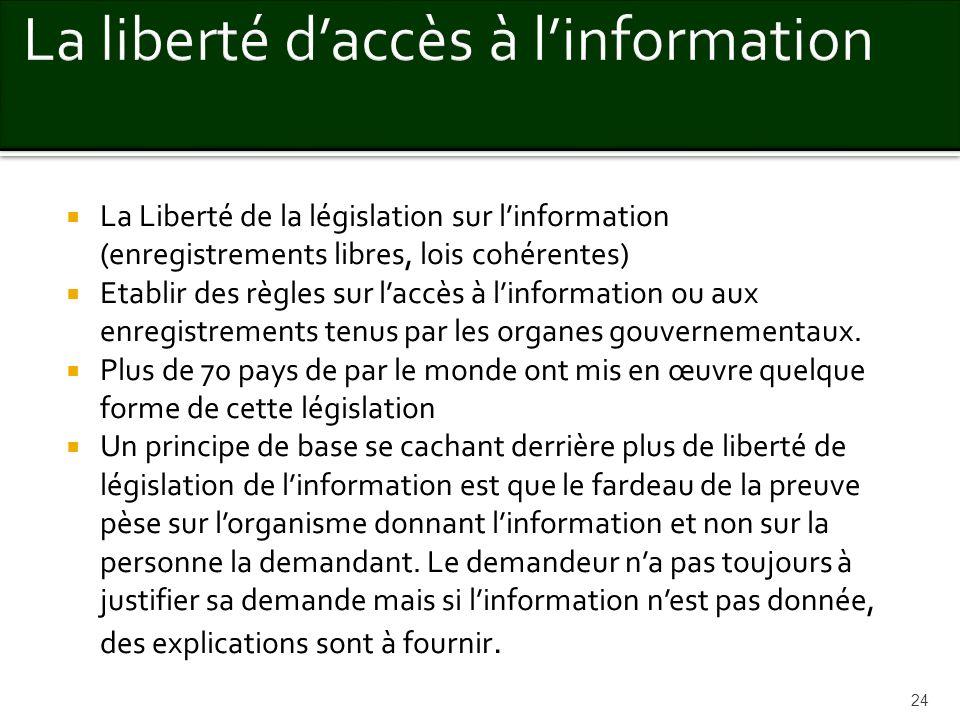 La Liberté de la législation sur linformation (enregistrements libres, lois cohérentes) Etablir des règles sur laccès à linformation ou aux enregistre