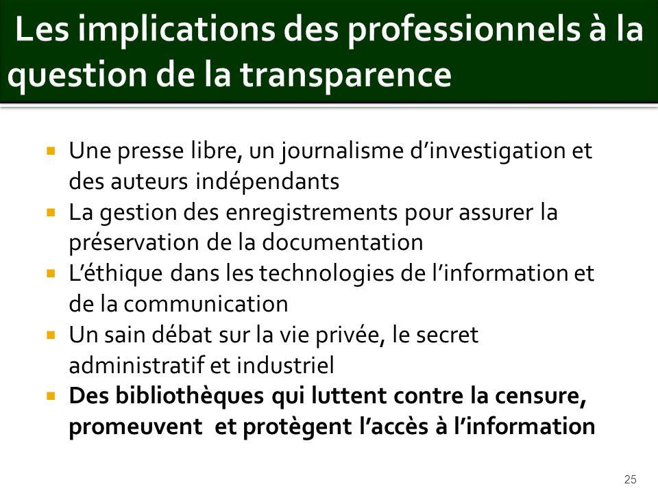 Une presse libre, un journalisme dinvestigation et des auteurs indépendants La gestion des enregistrements pour assurer la préservation de la document