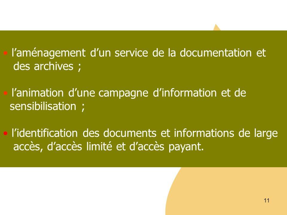 11 laménagement dun service de la documentation et des archives ; lanimation dune campagne dinformation et de sensibilisation ; lidentification des do