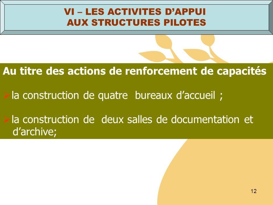 12 Au titre des actions de renforcement de capacités la construction de quatre bureaux daccueil ; la construction de deux salles de documentation et d