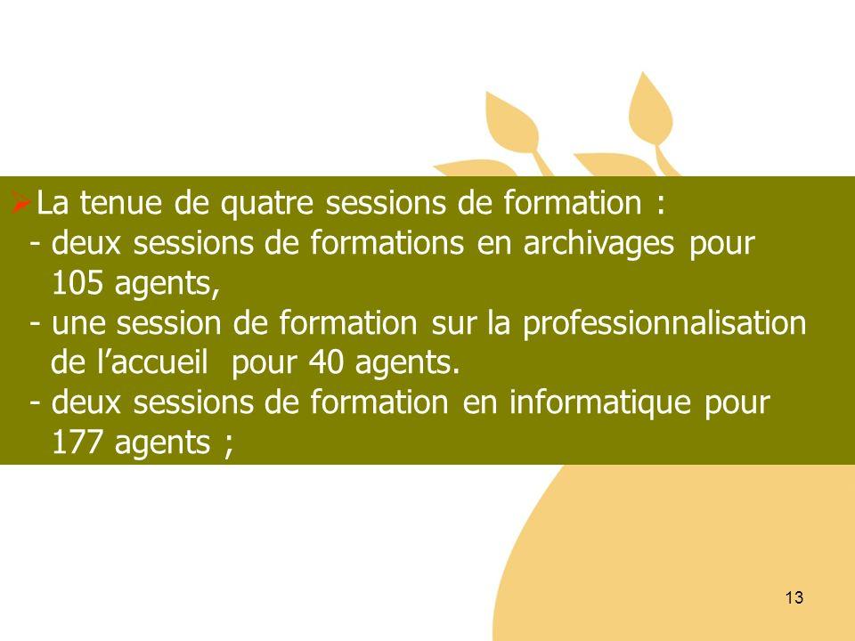13 La tenue de quatre sessions de formation : - deux sessions de formations en archivages pour 105 agents, - une session de formation sur la professio