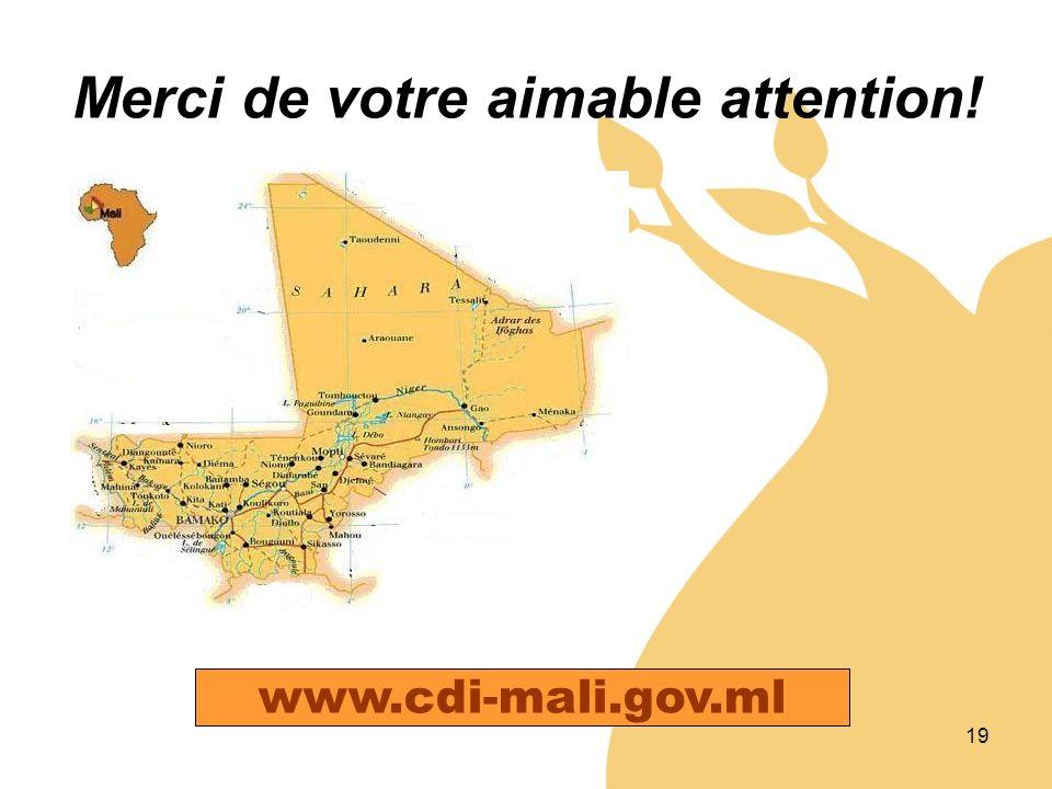 19 Merci de votre aimable attention! www.cdi-mali.gov.ml
