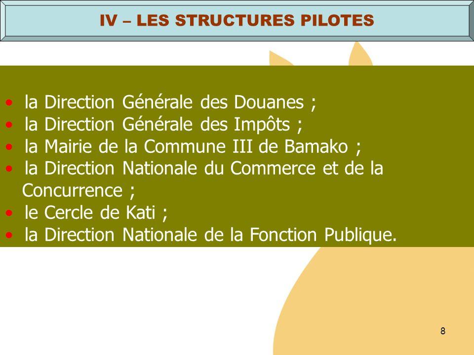8 la Direction Générale des Douanes ; la Direction Générale des Impôts ; la Mairie de la Commune III de Bamako ; la Direction Nationale du Commerce et