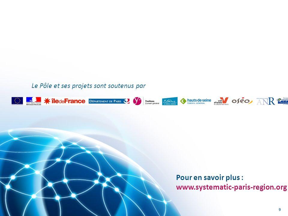 Le Pôle et ses projets sont soutenus par 9 Pour en savoir plus : www.systematic-paris-region.org