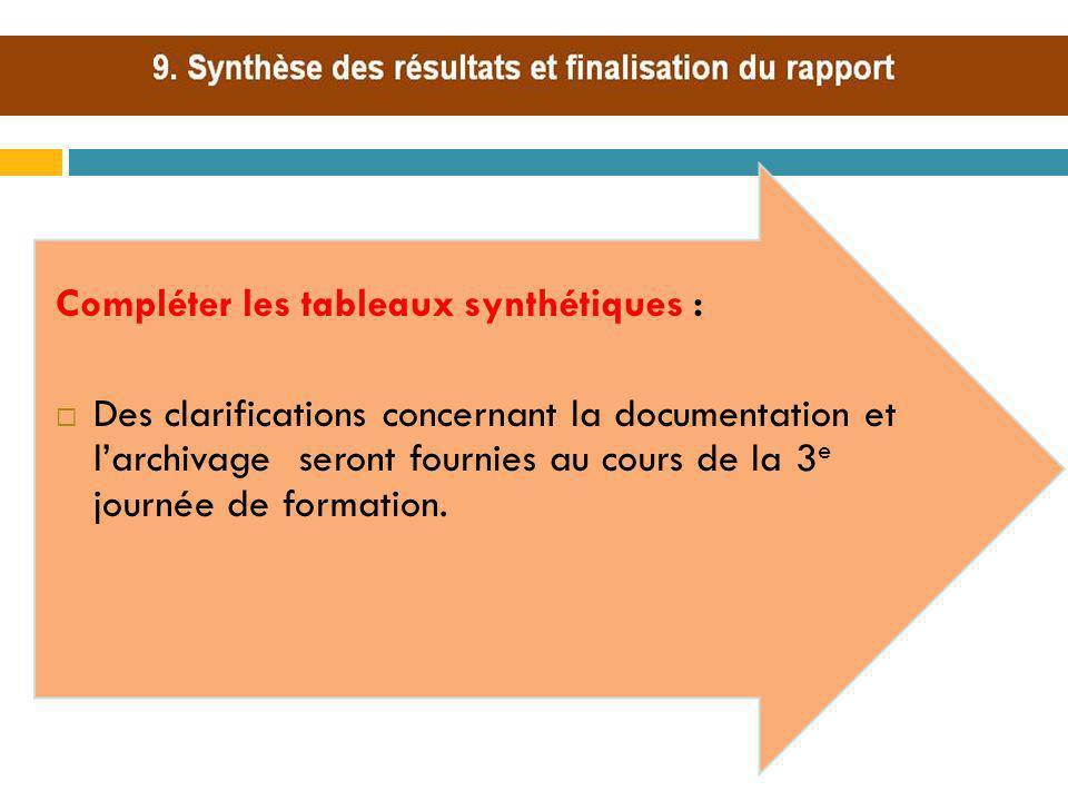 Compléter les tableaux synthétiques : Des clarifications concernant la documentation et larchivage seront fournies au cours de la 3 e journée de forma