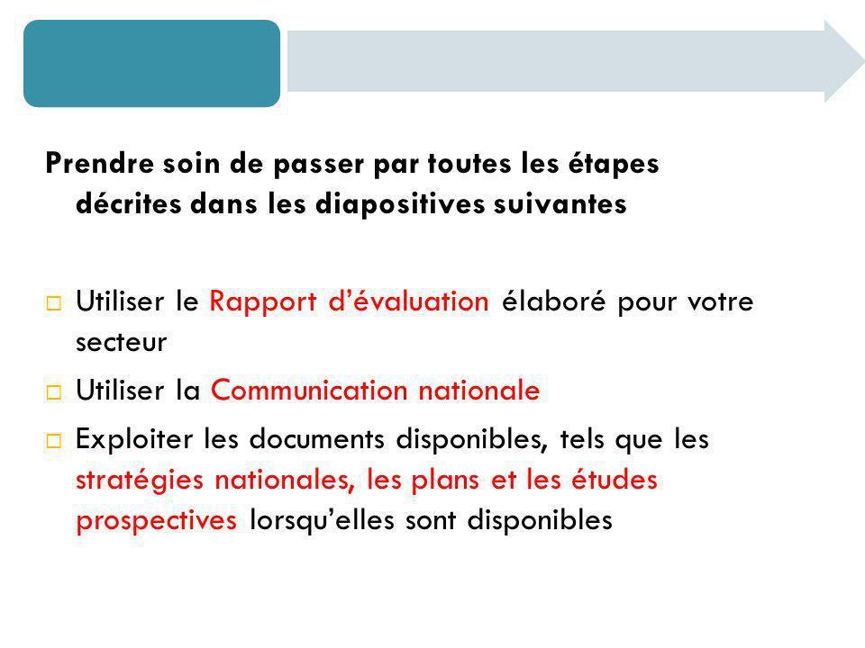 Prendre soin de passer par toutes les étapes décrites dans les diapositives suivantes Utiliser le Rapport dévaluation élaboré pour votre secteur Utili