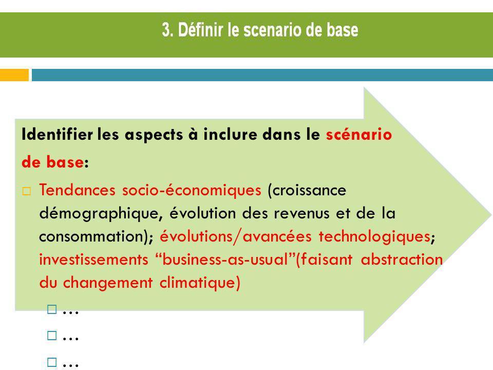 Identifier les aspects à inclure dans le scénario de base: Tendances socio-économiques (croissance démographique, évolution des revenus et de la conso