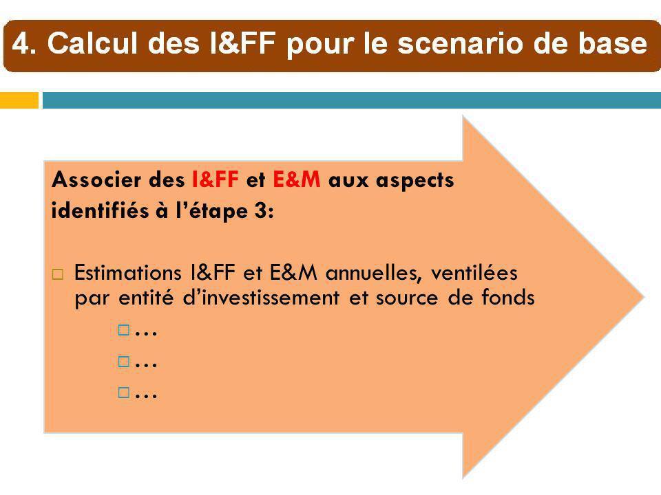 Associer des I&FF et E&M aux aspects identifiés à létape 3: Estimations I&FF et E&M annuelles, ventilées par entité dinvestissement et source de fonds