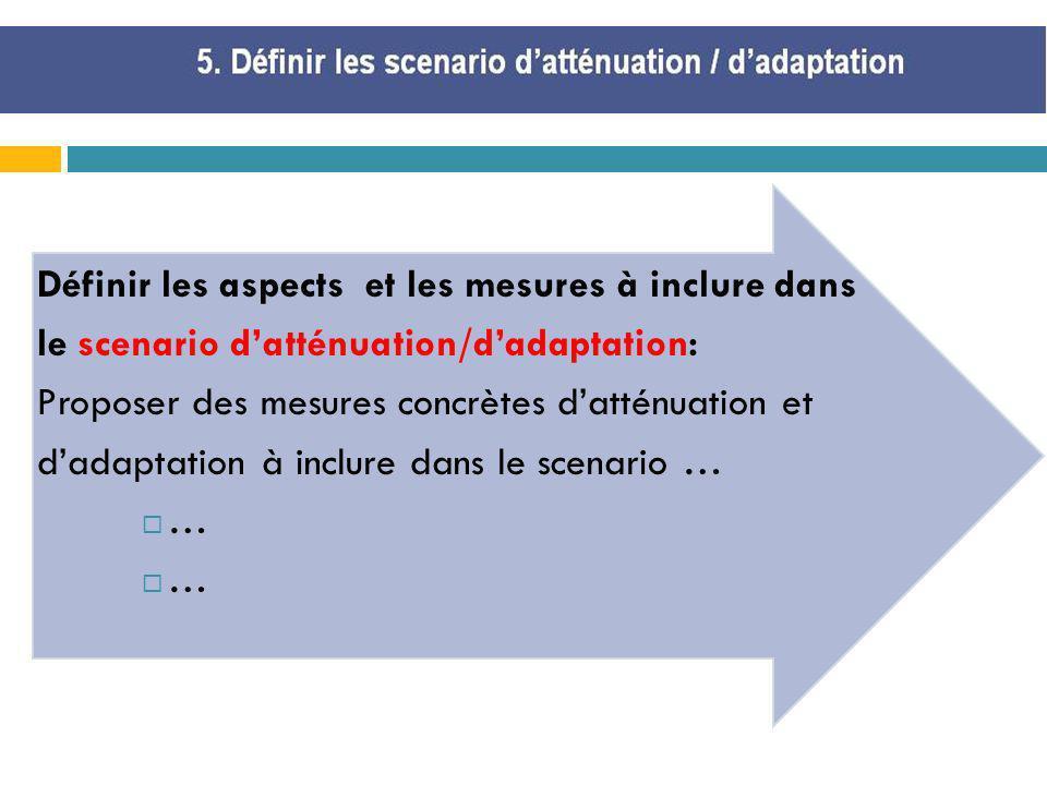 Définir les aspects et les mesures à inclure dans le scenario datténuation/dadaptation: Proposer des mesures concrètes datténuation et dadaptation à i