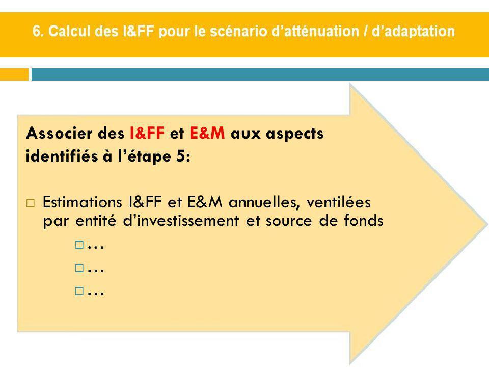 Associer des I&FF et E&M aux aspects identifiés à létape 5: Estimations I&FF et E&M annuelles, ventilées par entité dinvestissement et source de fonds