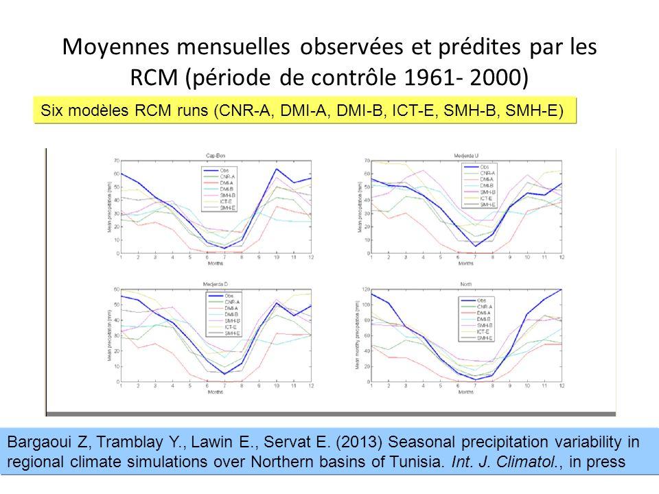 13 Moyennes mensuelles observées et prédites par les RCM (période de contrôle 1961- 2000) Six modèles RCM runs (CNR-A, DMI-A, DMI-B, ICT-E, SMH-B, SMH