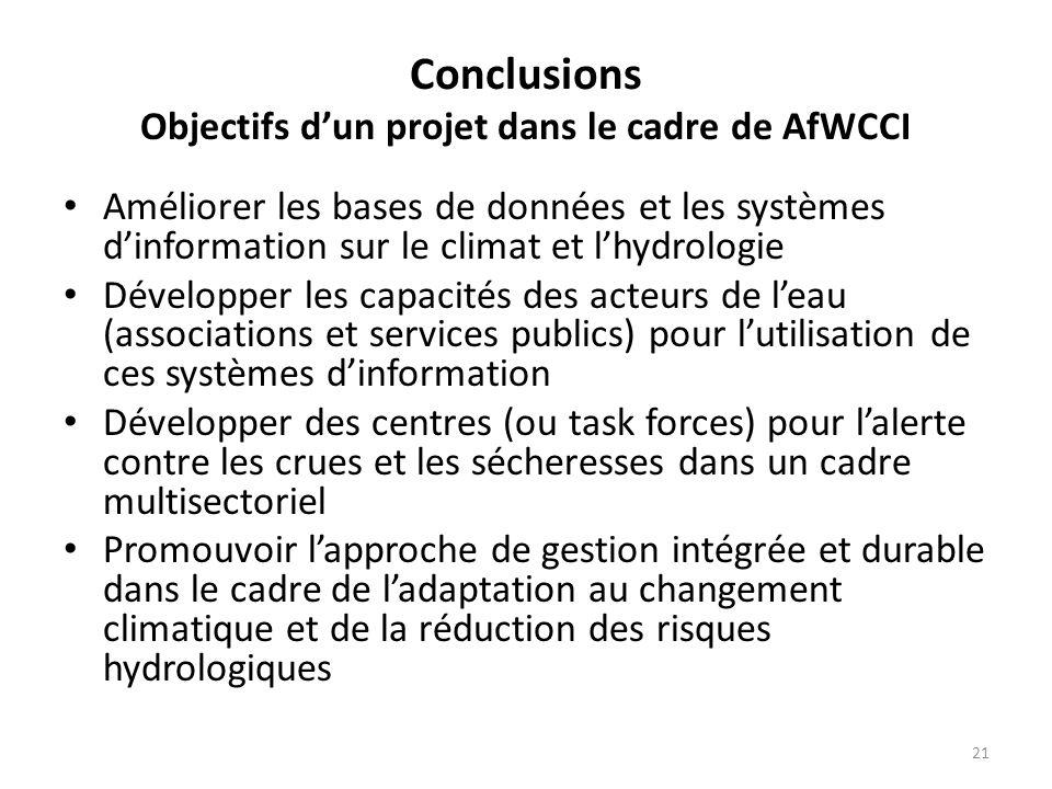 21 Conclusions Objectifs dun projet dans le cadre de AfWCCI Améliorer les bases de données et les systèmes dinformation sur le climat et lhydrologie D