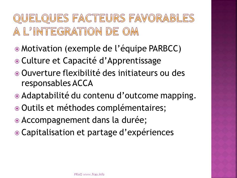 Motivation (exemple de léquipe PARBCC) Culture et Capacité dApprentissage Ouverture flexibilité des initiateurs ou des responsables ACCA Adaptabilité du contenu doutcome mapping.