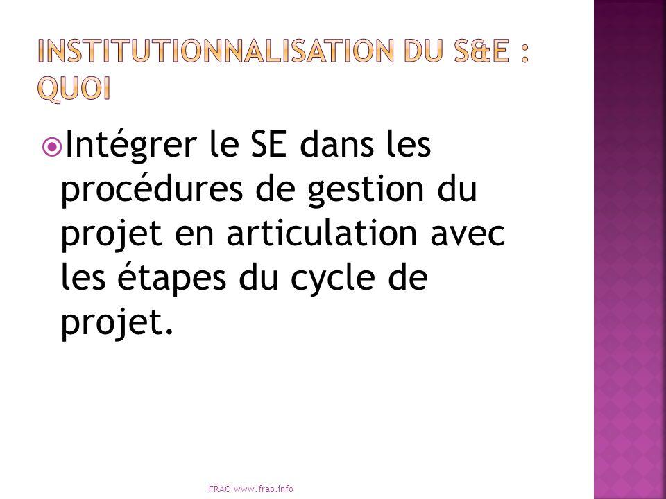 Intégrer le SE dans les procédures de gestion du projet en articulation avec les étapes du cycle de projet. FRAO www.frao.info