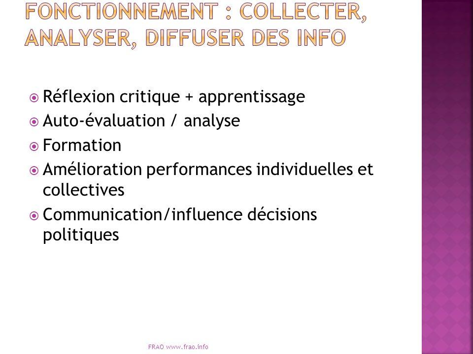 Réflexion critique + apprentissage Auto-évaluation / analyse Formation Amélioration performances individuelles et collectives Communication/influence décisions politiques FRAO www.frao.info