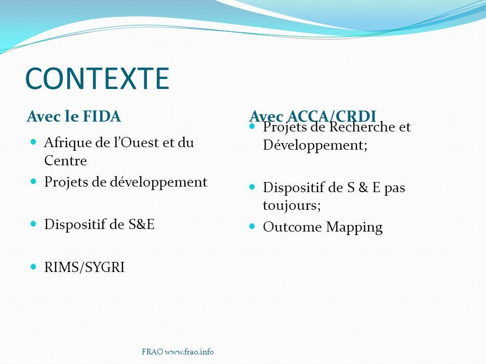 CONTEXTE Avec le FIDA Avec ACCA/CRDI Afrique de lOuest et du Centre Projets de développement Dispositif de S&E RIMS/SYGRI Projets de Recherche et Développement; Dispositif de S & E pas toujours; Outcome Mapping FRAO www.frao.info