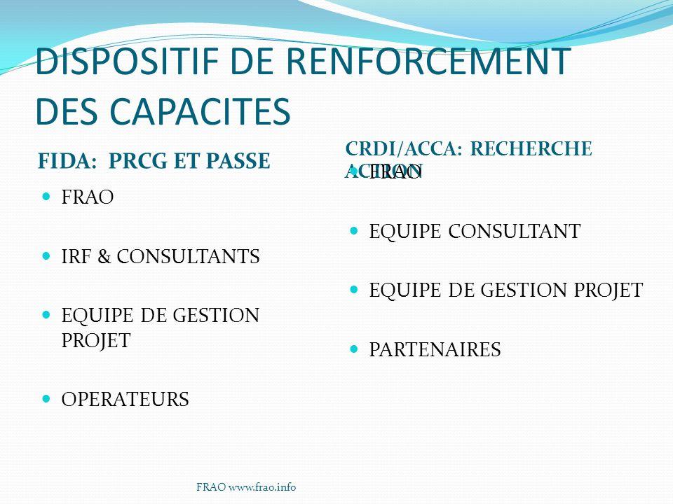 DISPOSITIF DE RENFORCEMENT DES CAPACITES FIDA: PRCG ET PASSE CRDI/ACCA: RECHERCHE ACTION FRAO IRF & CONSULTANTS EQUIPE DE GESTION PROJET OPERATEURS FRAO EQUIPE CONSULTANT EQUIPE DE GESTION PROJET PARTENAIRES FRAO www.frao.info